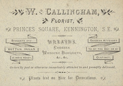 Advert for W Callingham, florist
